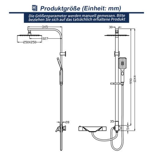 Duschsystem mit Thermostat Regendusche Wasserfall Badewannenarmatur Duscharmatur