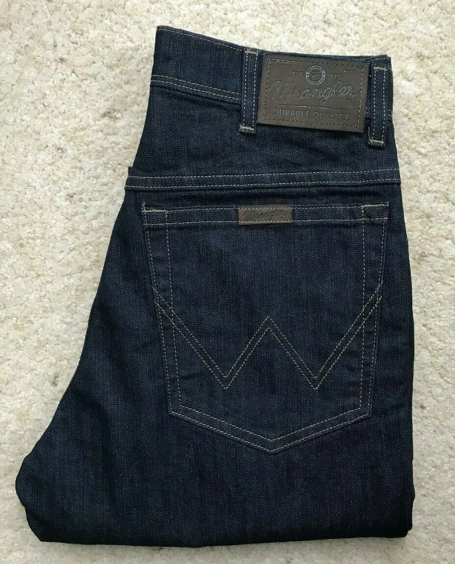 Mens Wrangler Regular Fit Str straight dark indigo Blau denim jeans W 29 L 31  | Verrückter Preis  | New Product 2019  | Erschwinglich