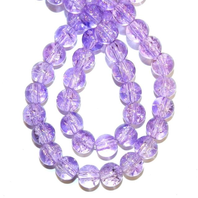 """G1313L Purple 8mm Round Crackle Glass Beads 32"""""""
