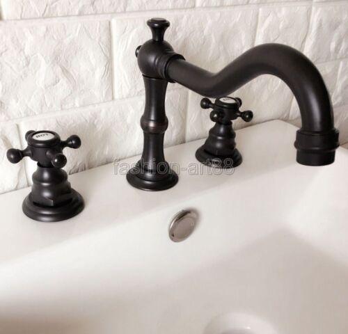 Oil Rubbed Bronze Widespread 3 Hole Bathroom Basin Sink Faucet Mixer Tap fhg066