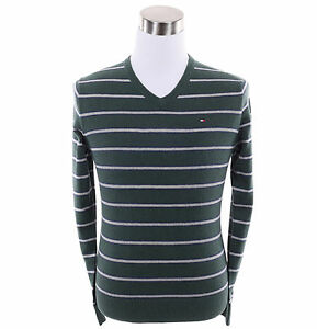 Tommy-Hilfiger-Men-Classic-Cashmere-Cotton-V-Neck-Stripe-Long-Sleeve-Sweater