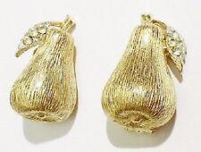 boucles d'oreilles clips bijou vintage poire cristal diamant couleur or * 3267