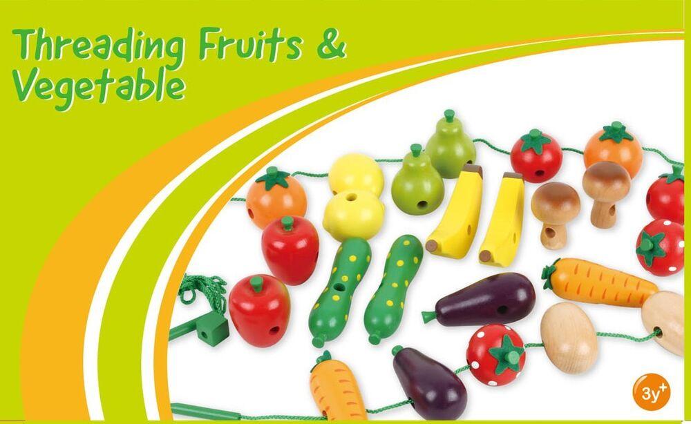 En Bois Fruits Et Légumes Threading Jeu Bananes Pommes Poires Carottes Tomates Jouet