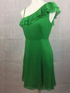 Ladies-Giorgio-Armani-Exchange-Asymmetric-Size-8-Green-Silk-Midi-A-Line-Dress