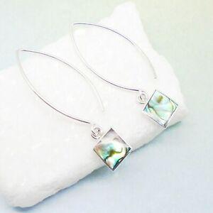 Abalone-Paua-Muschel-Design-Kreolen-Ohrringe-Ohrhaenger-925-Sterling-Silber-neu