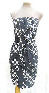 Reiss-Black-and-white-pure-silk-ruffle-bandeau-mini-cocktail-dress-UK-6-Petite