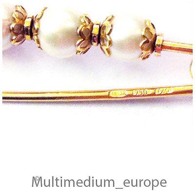 Vintage 750er 18ct Gold Brosche Perlen Italien Gold Brooch Pearls Italy 50s Kann Wiederholt Umgeformt Werden.