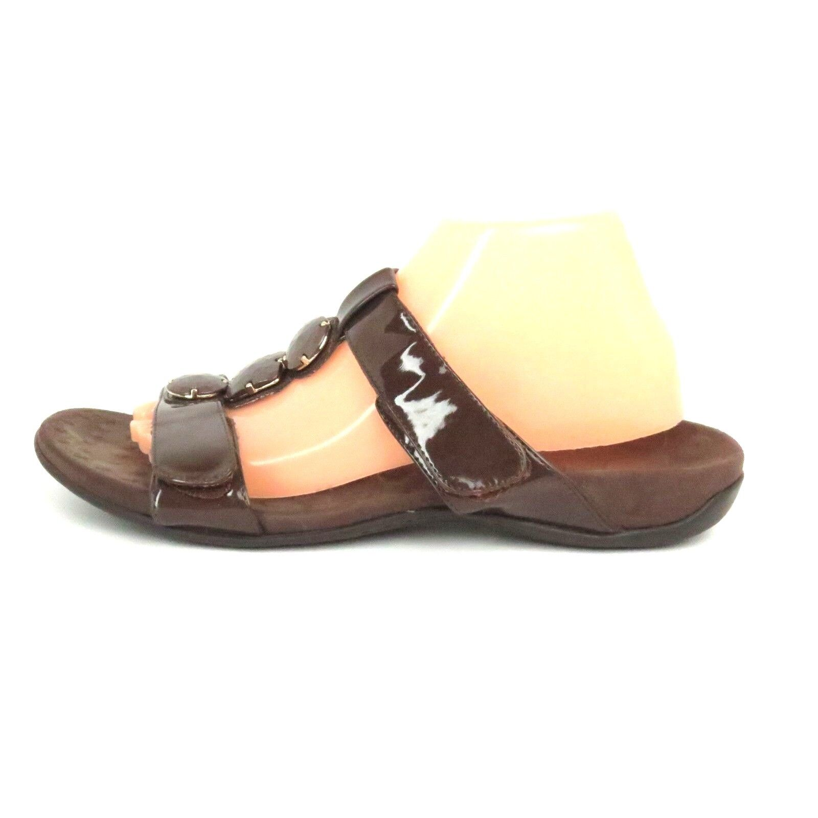 Orthaheel Albany T Strap Slide Sandals Chocolate Size US 10