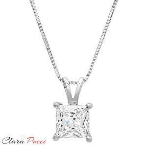 2-0Ct-Princess-Cut-14K-White-Gold-Solitaire-Pendant-Necklace-Box-With-16-034-Chain