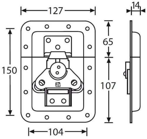 Butterfly Verschluss gross 127x172mm in 14mm Einbauschale Schloss ungekröpft
