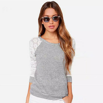 New Fashion Womens Long Sleeve Casual Lace Blouse Loose Cotton Tops T Shirt
