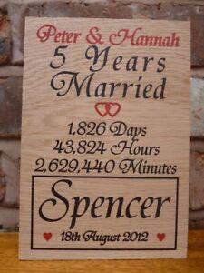 Personalised 5th Wedding Anniversary Oak Gift Oak Wood Anniversary Gift Fifth Ebay