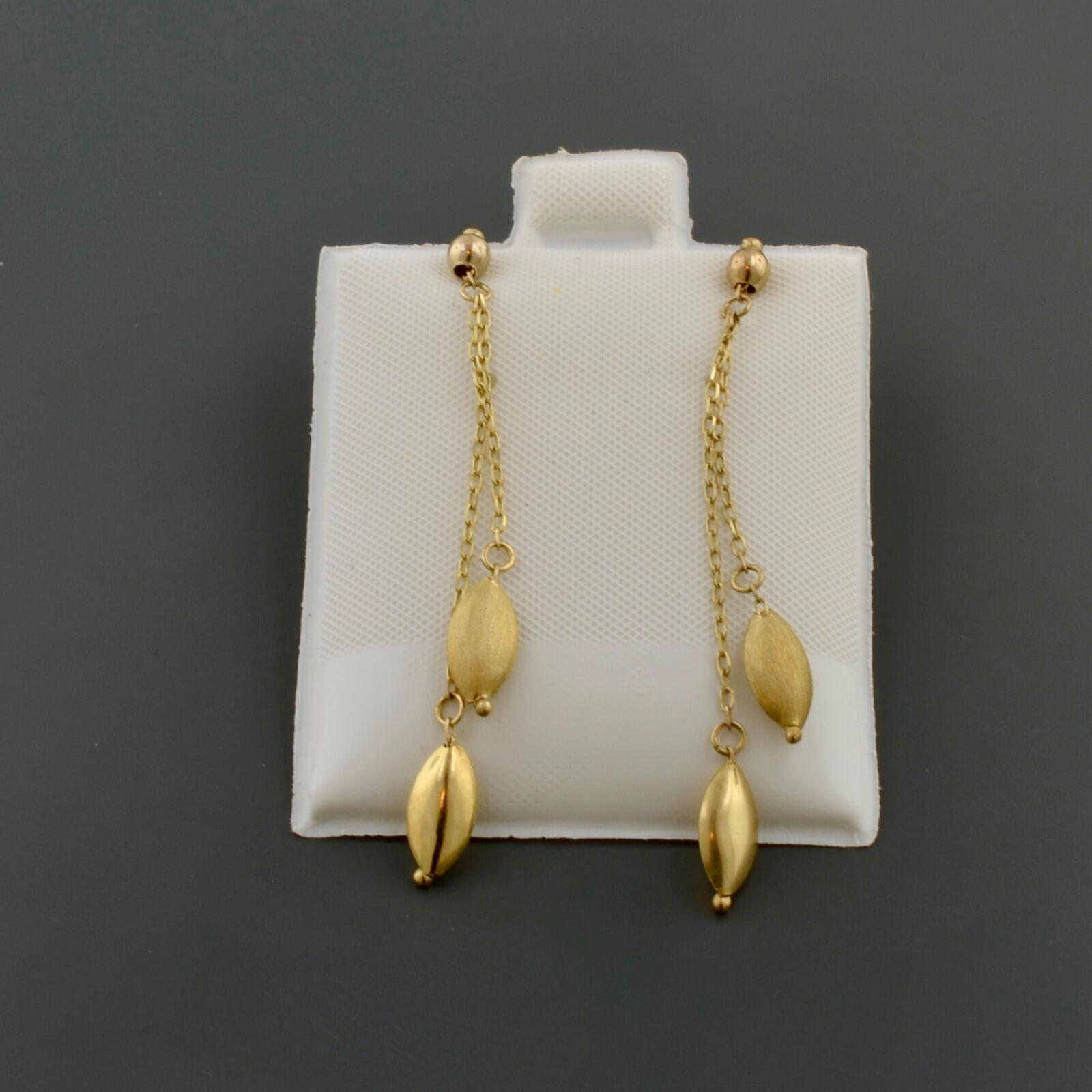 10K YELLOW gold POLISHED AND SATIN OVAL BEAD DANGLE STUD EARRINGS