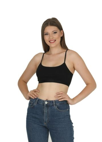 New ladies Strappy Sleeveless womens Camisole Bralet Crop Stretch Vest Top 6052