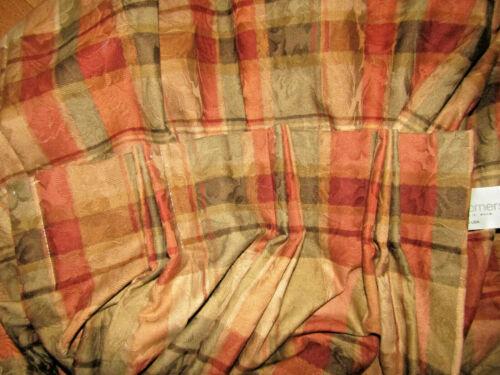 "2 Calico Corners Custom Lined Drapery Panels 96/"" L Rust Green Tan Plaid Cotton"