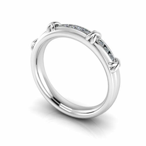 18K /& Platinum 0.15ct Crossover Pattern Channel Set Diamond Wedding Ring in 9K
