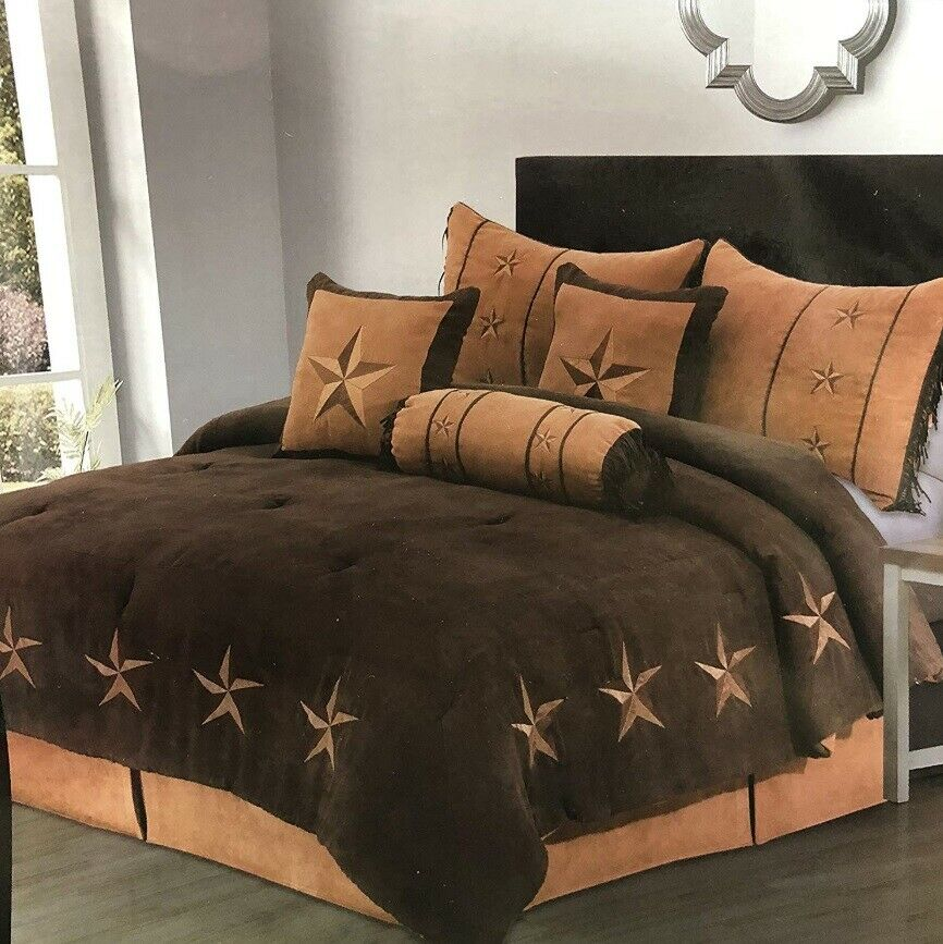 7 Piece Comforter Set Western Texas Star Rustic Bedding Embroidery Queen, King