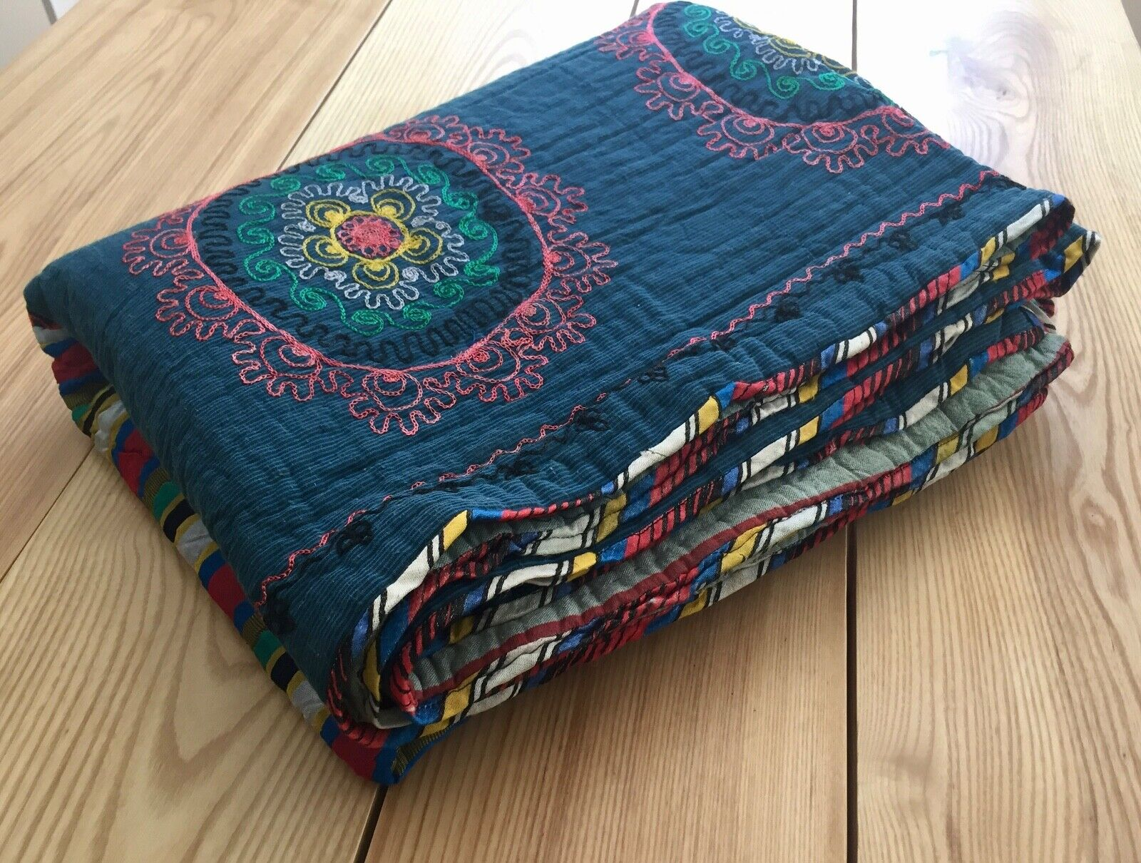 UZBEK VINTAGE EMBROIDErot HAND MADE Quilt Throw Bettding Blanket