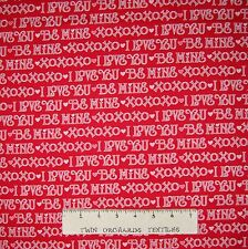 Valentine's Day Fabric - I Love You XOXO Word Stripe Red - Henry Glass YARD