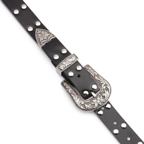 Black Vintage Style Double Designer Buckle Women Waist Belt with Studded Rivets