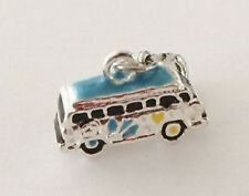 LOVELY BLUE & SILVER VW VAN- 3D - CLIP ON CHARM FOR BRACELETS -TIBETIAN SILVER