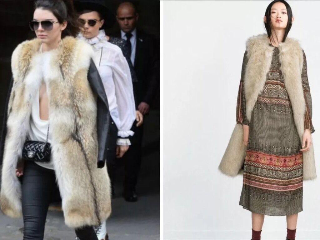Zara Beige Nude Off -vit Ice Long Faux Fur Boho Waistcoat Storlek S