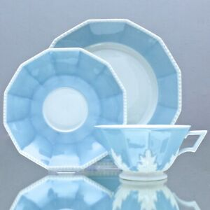Nymphenburg-Teetasse-Perl-Service-Blau-Gedeck-Tasse-Teller-Teegedeck-cup