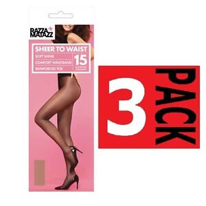 2f9841599eee5 WOMENS 3 PACK x RAZZAMATAZZ SHEER TO WAIST SHEERS Stockings ...