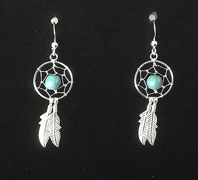 Sterling Silver and Turquoise Dreamcatcher Dangle Earrings