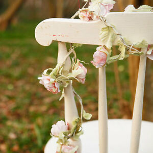 Shabby vintage chic pink rose flower garland bedroom for Shabby chic garland lights