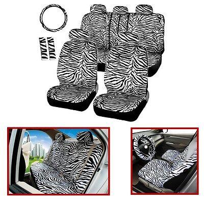 12x Short Plush White Zebra Car Seat Steering Covers,Shoulder Pad Car Seat Cover