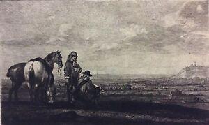 Charmant Cuyp Aelbert 1605-1691 Dessinant D'après Nature Gravé Par Greux