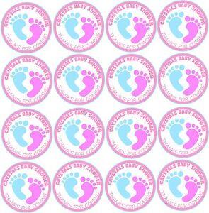30 Personnalisé Rond Baby Shower Fête D'anniversaire Autocollants étiquettes Rose Et Bleu-afficher Le Titre D'origine 3o20midb-10115520-531718883