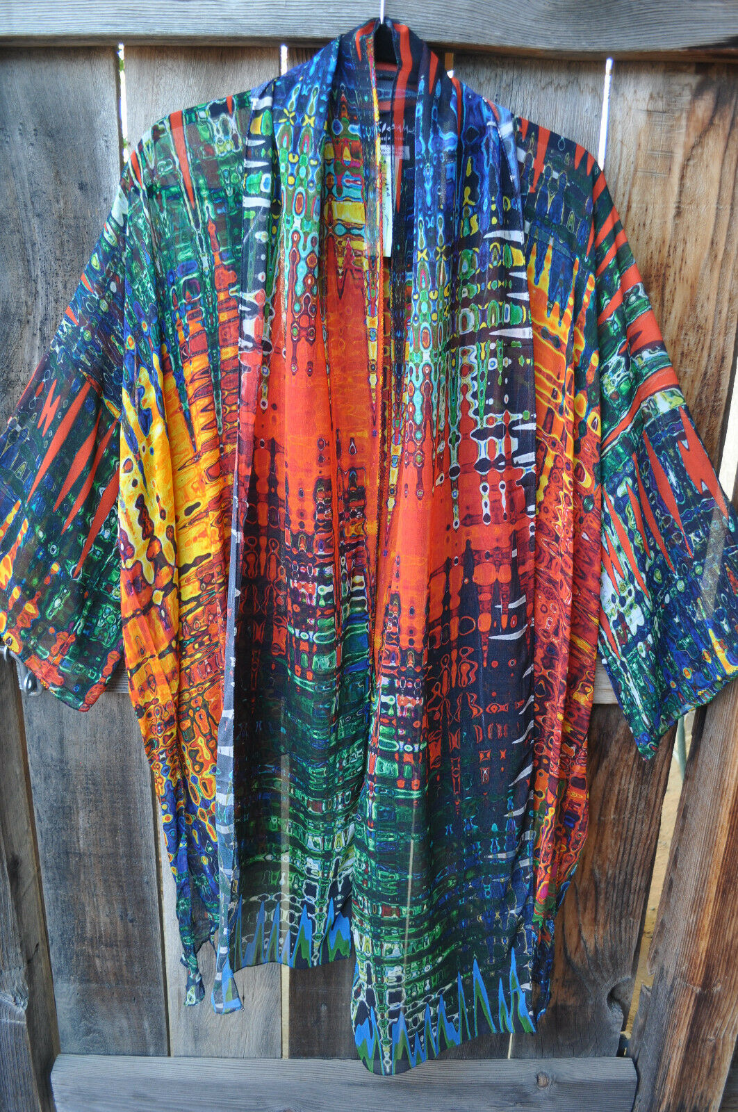 DILEMMA HAND PAINTED RAUSCHENBERGER INSPIRED ART TO WEAR KIMONO SCARF, OS+