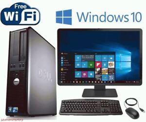 FAST-Dell-Windows-10-Desktop-Computer-Core-2-Duo-4GB-Ram-DVD-WiFi-19-034-Dell-LCD
