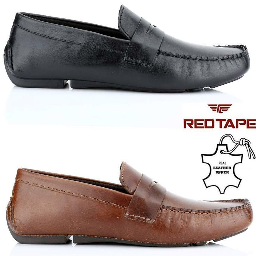 Mens Red Tape Leather Slip On Driving Casual Mocassin Designer Loafer Driving On Shoe Size dd881a
