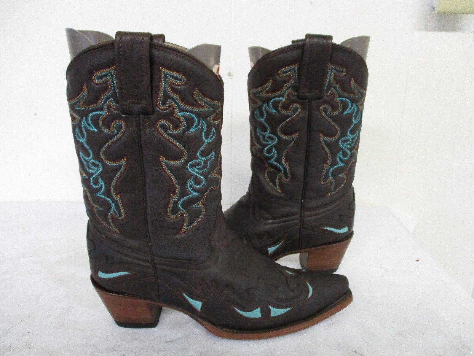 Corral Marrón Cuero SNIP Toe Incrustaciones botas de vaquero para mujer Talla 8.5 M Estilo R2501