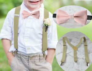 BABY-BOY-KIDS-Khaki-Braces-Suspenders-Bowtie-Cotton-PINK-Bow-Tie-1-8-Years-Old