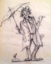 Julian Ritter -Clown With an Umbrella -2 Charcoal on Vellum  Un-Signed- 258