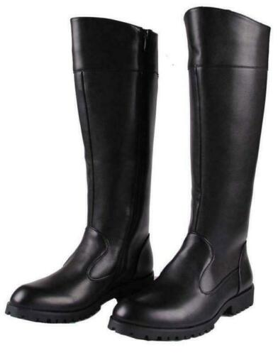 Men Leather Zip Knee High Riding Punk Shoes Biker Boots Military Knight Low Heel