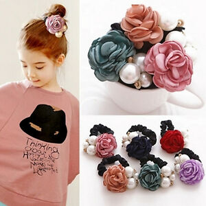 Women-Girls-Rose-Flower-Pearls-Beads-Hair-Band-Rope-Scrunchie-Ponytail-Holder-HD
