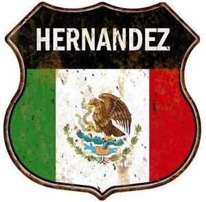 HERNANDEZ-Mexican-Flag-Personalized-Shield-Metal-Sign-Mexico-211110008005