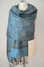 Pashmina Schal Tuch Stola Paisley gewebt 100% Viskose Hellblau Khaki ca.180x70cm