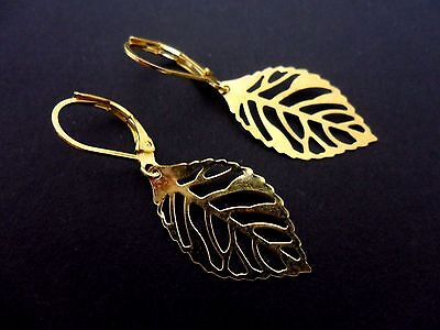 NEW. A PAIR OF DANGLY GOLD COLOUR   HEART LEVERBACK HOOK   EARRINGS