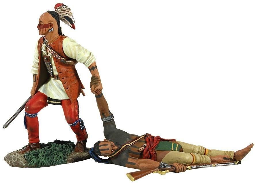 W Britain -  No One Left Behind  Eastern Woodland Indian Dragging Wounded 16013