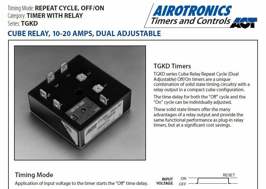 Airotronics USA Tgkdb Cube Relay Repeat Cycle off / on Timer 10a 24vac Delay