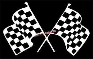 Racing-Flags-finish-line-race-nascar-track-sticker-truck-car-laptop-Vinyl-Decal