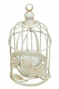 Birdcage-tea-light-holder-Metal-Antique-white-Rustic-Hanging-Freestanding