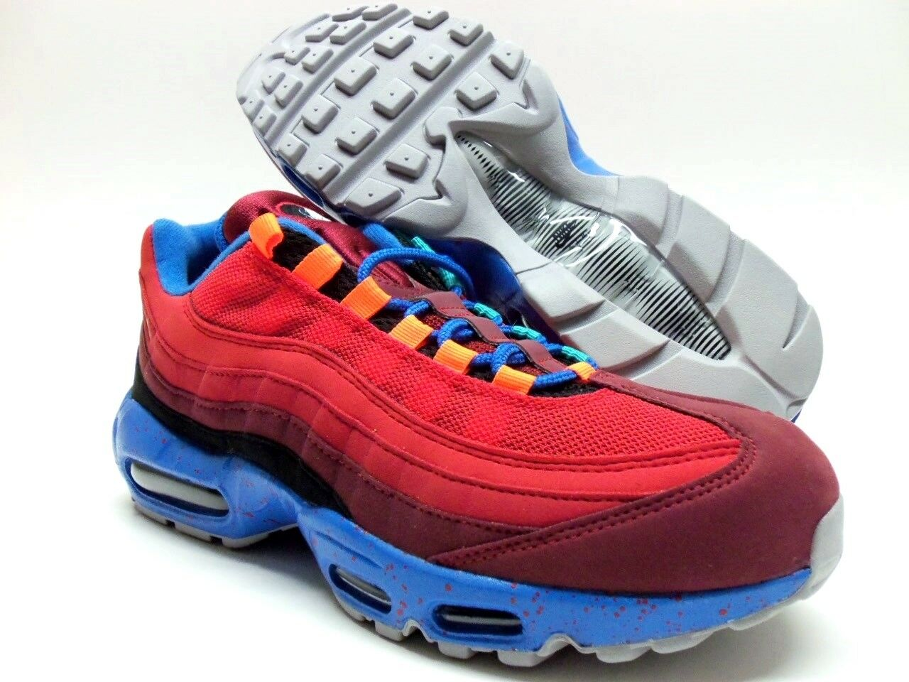 NIKE AIR MAX 95 ID GYM RED SOLAR RED-ROYAL blueE SIZE WOMEN'S 10 [818593-996]