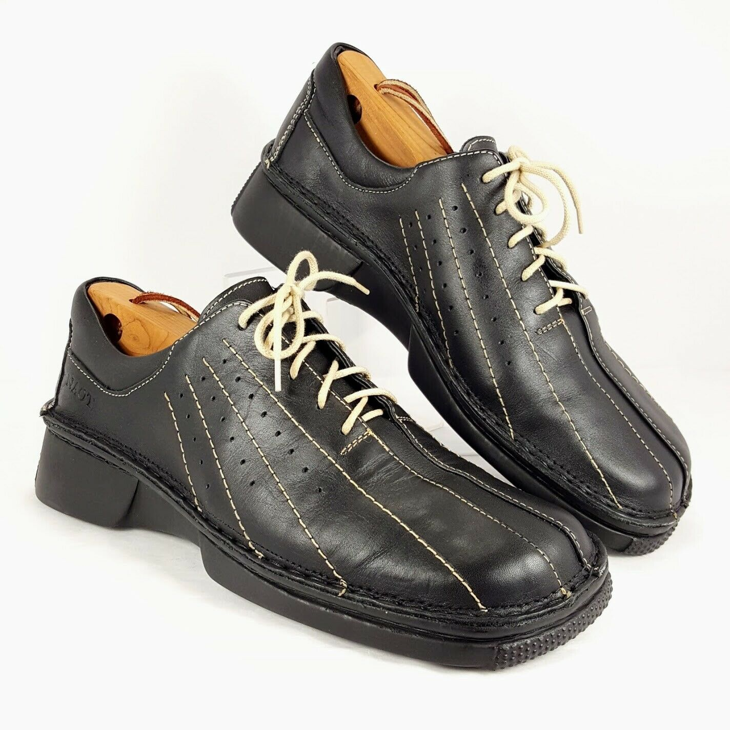 NAOT Men's Funky Disco 70s style Lace Up Black Leather Sneakers size 9 - 9.5 NEW